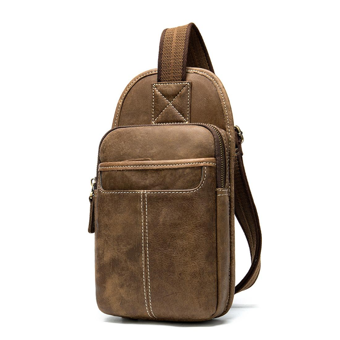 Vintage Genuine Leather Mens Small Messenger Best Waist Pack Side Bag Brown