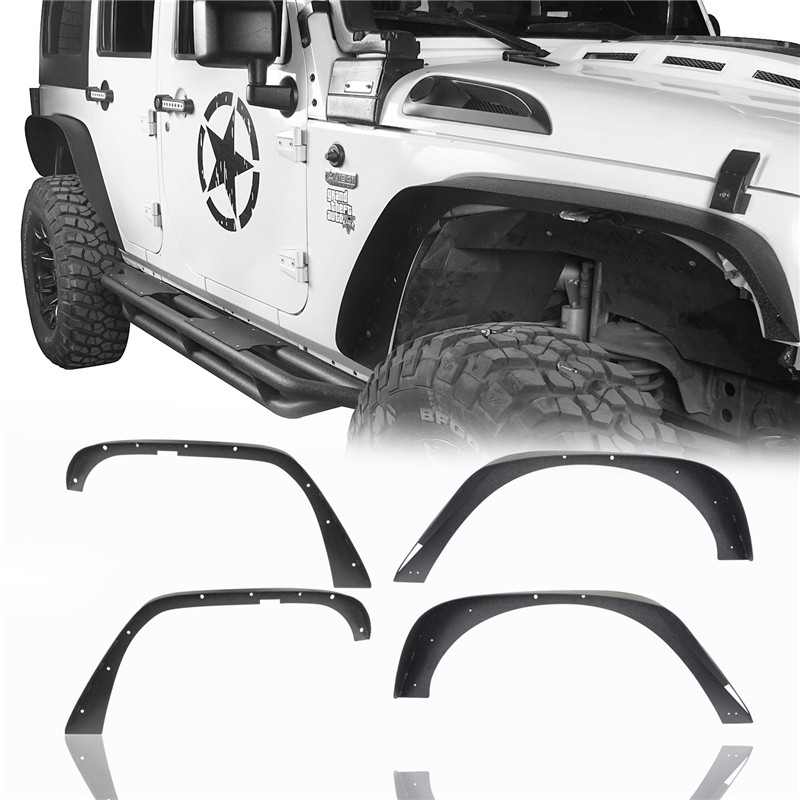 4Pcs Fit For 07-18 Jeep Wrangler JK Steel Textured Front Rear Flat Fender Flares