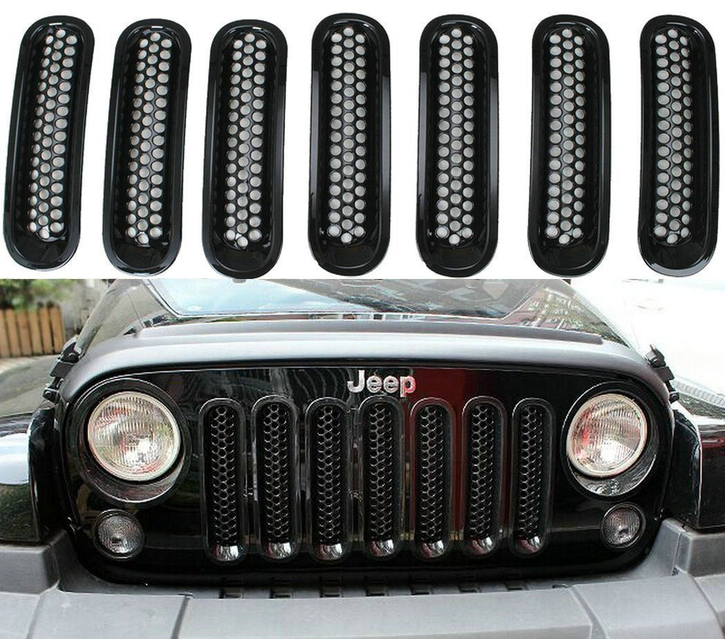 black front clip grill mesh grille insert guard for jeep wrangler