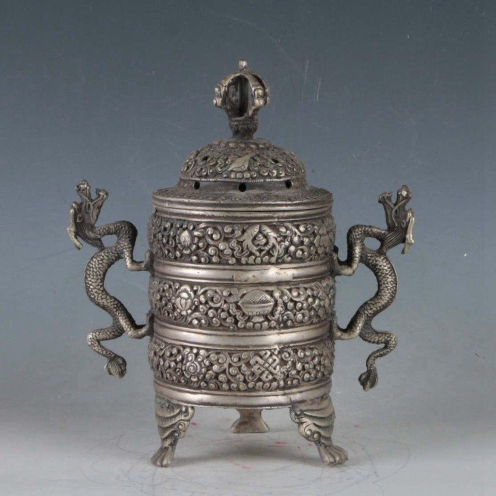 Exquisite-Tibetan-Silver-Dragon-Incense-Burner miniature 5
