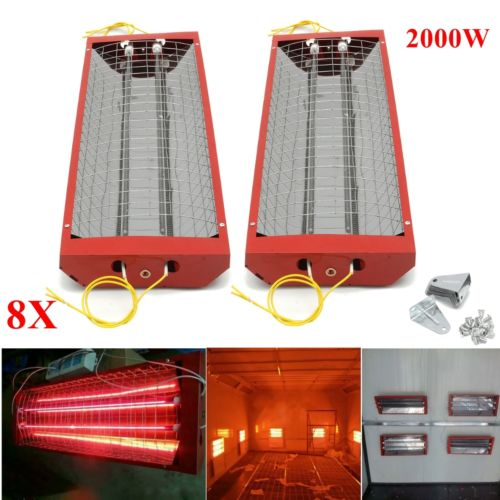 8 X 2kw Spray Baking Booth Infrared Red Paint Curing Light