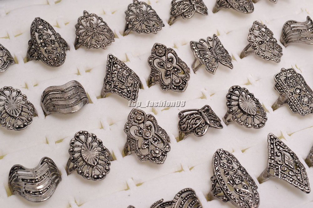 20PCS Wholesale Lots Jewelry Mixed Style Tibet Silver Vintage Rings Free Ship