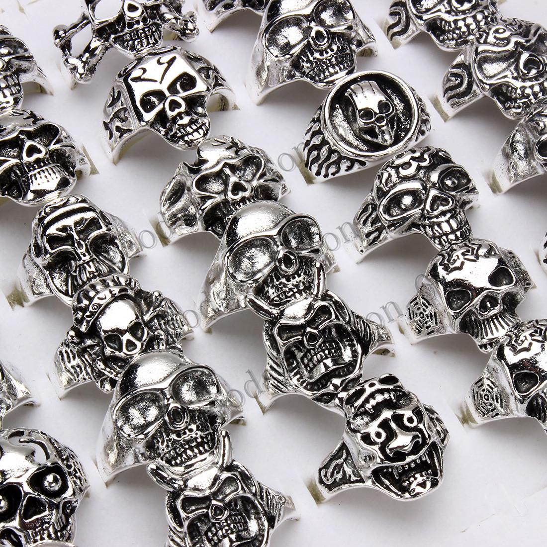 20pcs Lots Big Gothic Skull and Animal  Men/'s Anti Silver Rings Punk Retro Free
