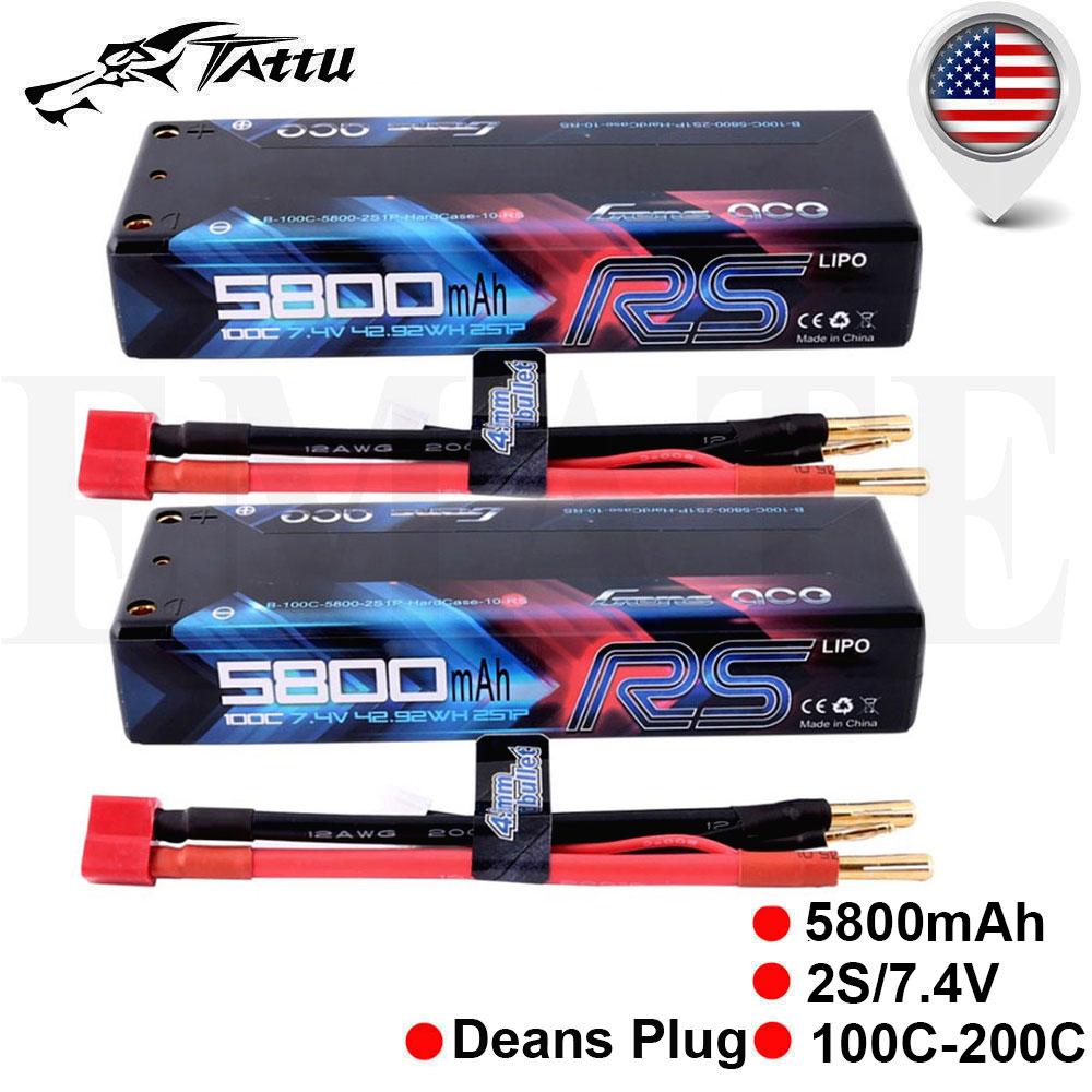 Gens ace 5800mAh 2S 7.4V 100C 200C Lipo Battery Hardcase Deans Racing Car Truck