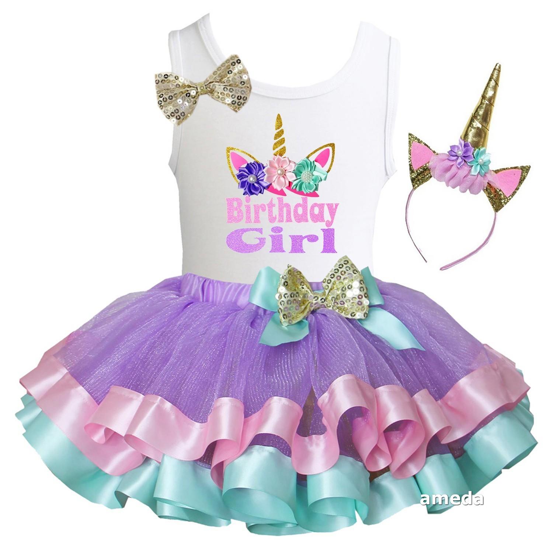 girls lavender pink mint satin trimmed tutu  unicorn