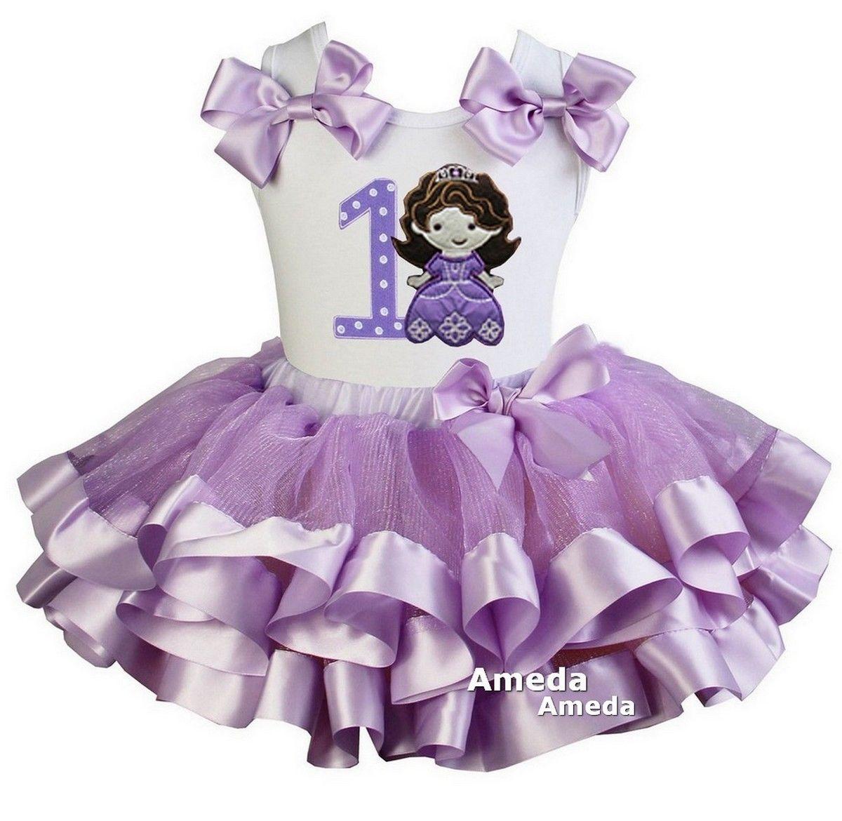 59db21f660 Girls Lavender Satin Trimmed Tutu & Sofia Princess Bithday Tee Dress ...