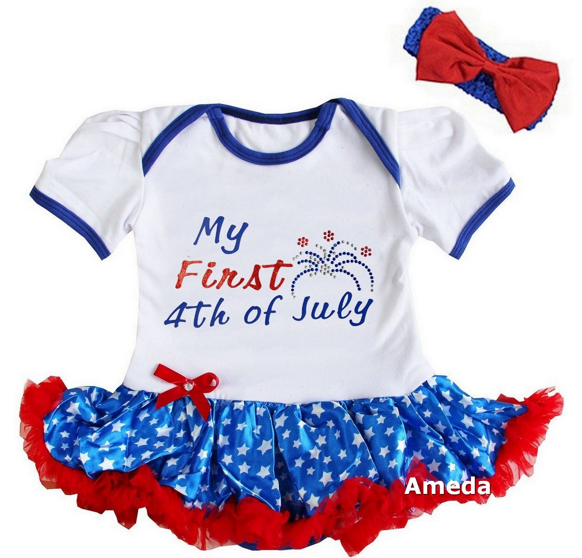 7830d22264d5 Details about Happy First 4th Of July Baby Girls Red White Blue Bodysuit  Tutu Dress Romper