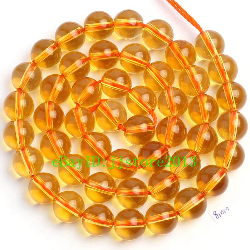 "6-14mm Natural Citrine Round Gemstone Loose Beads 15/"""