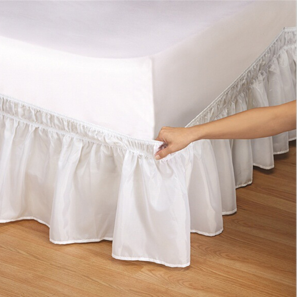 elastic ruffle bed skirt easy fit spread cover valance soft twin full queen king ebay. Black Bedroom Furniture Sets. Home Design Ideas