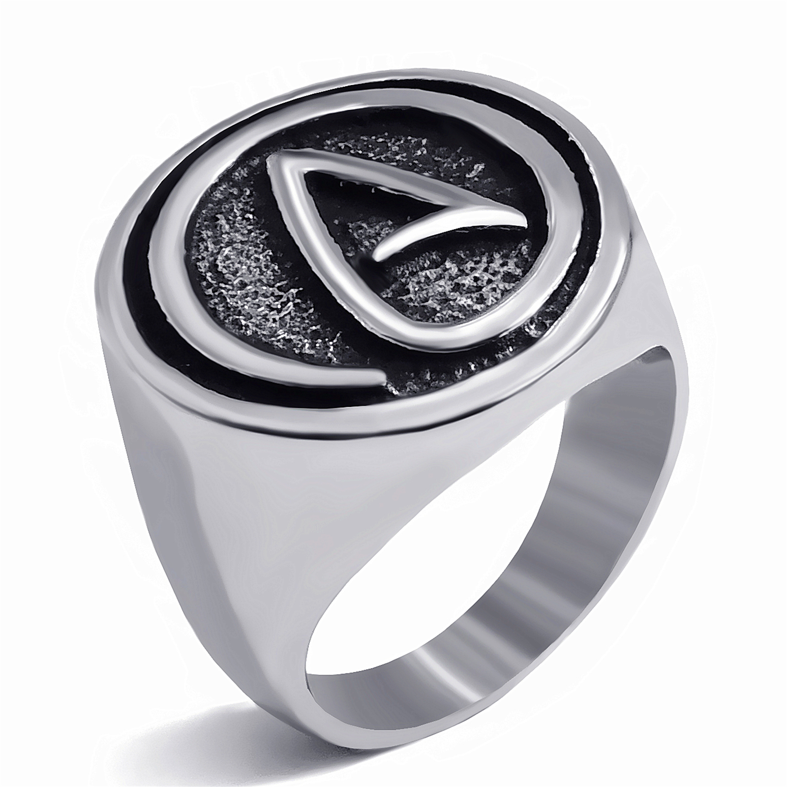 Mens Boys Stainless Steel Ring Atheist Atheism Symbol Silver Jewelry