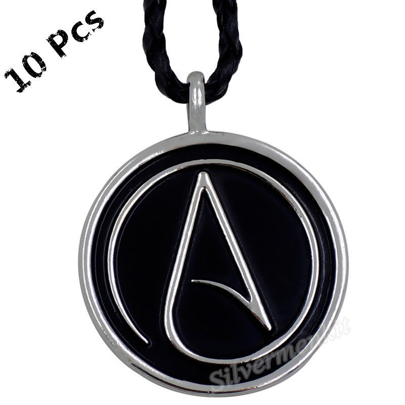 Wholesale 10 Pcs Men Women Atheist Atheism Symbol Silver Pendant