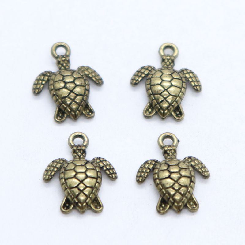 25pcs Vintage Tortoise Charms Pendants Beaded Necklace Jewelry Findings DIY