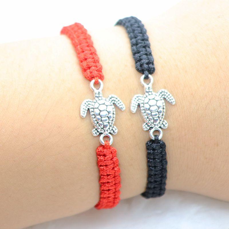 large sélection meilleur service en stock Details about DIY Red Rope Weave Turtle Charm Bracelet Adjustable Wish  Bracelets Jewelry Gift