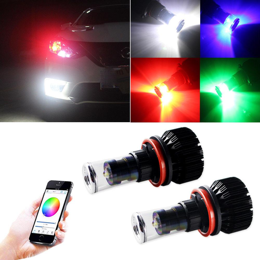APP BT Control H8 H9 H11 Car RGB LED Headlight Driving Fog Light Bulbs Ballast