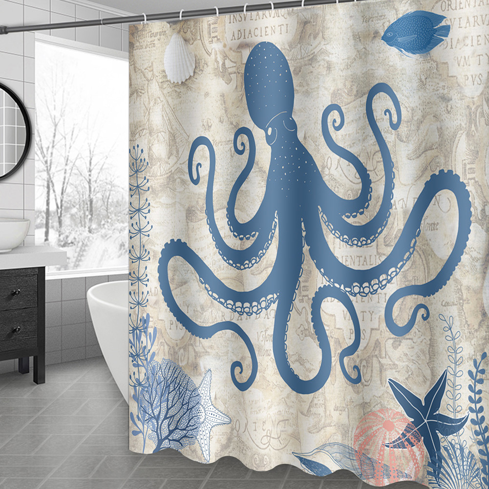 Undersea World Anchor Shower Curtain Nautical Blue Sea Fabric Washable Bathroom