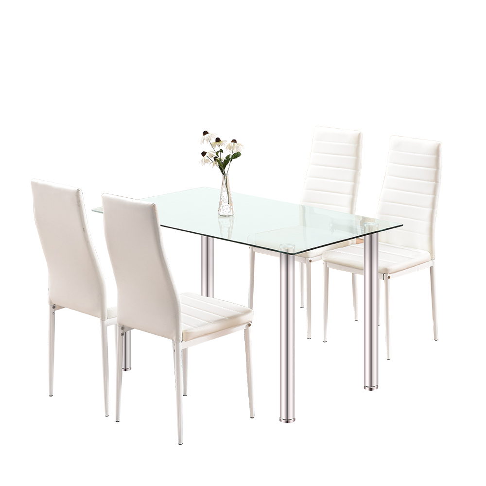 Super Details About Glass Dinning Table With 4 Leather Chairs Kitchen Modern Furniture White Ibusinesslaw Wood Chair Design Ideas Ibusinesslaworg