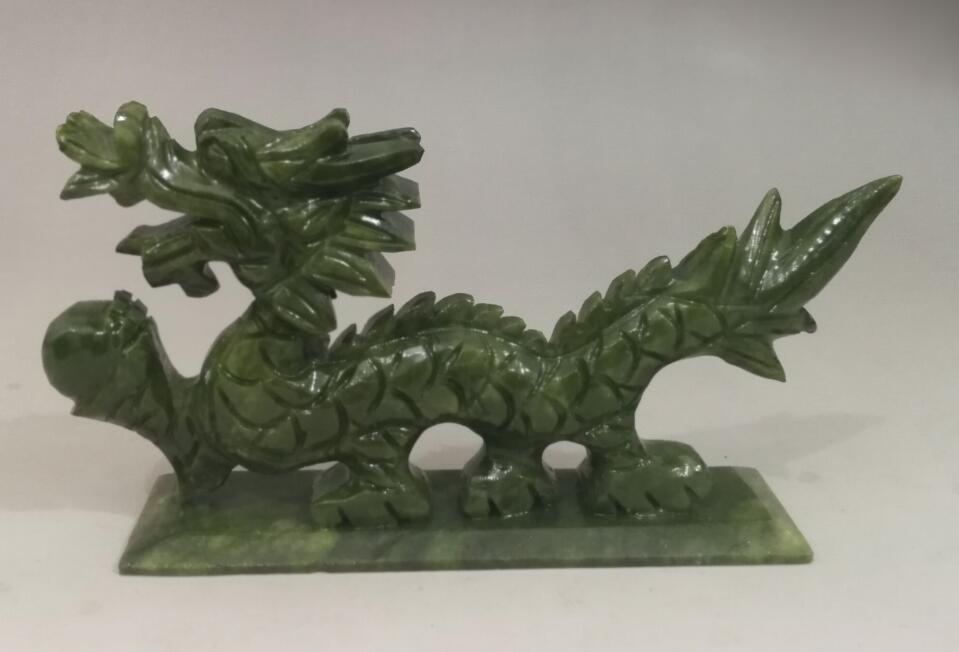 Green natural jade Chinese hand-carved Dragon statue good luck LM822