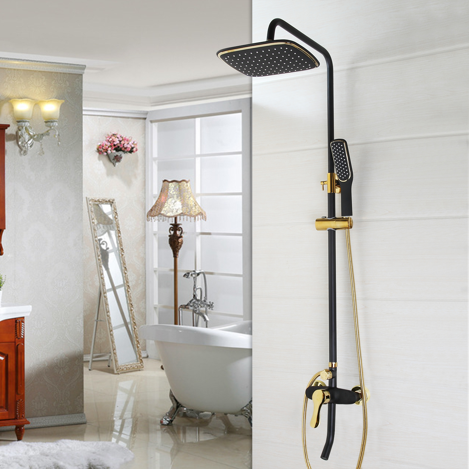 Wall Mount Bathroom Black Painting+Gold Rain Shower Head +Handheld ...