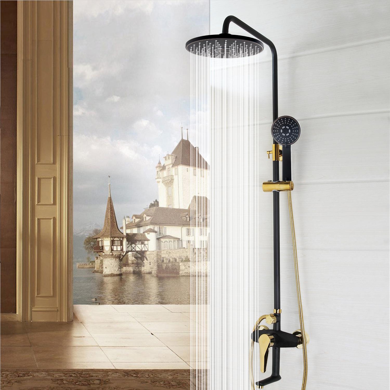 Golden black 8\'\' Rainfall Shower Head Sprayer Arm + Mixer Handheld ...
