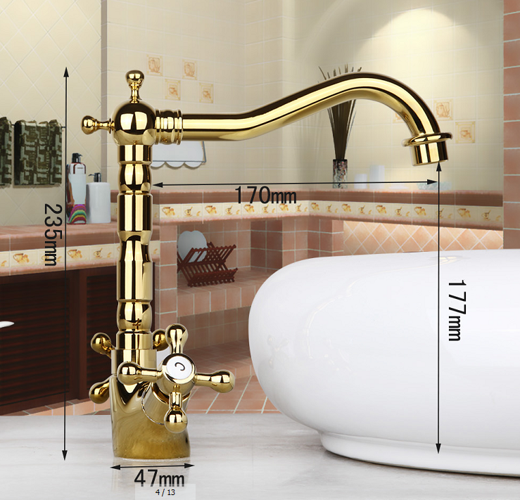 Luxury Dual Handles Polished Gold Br Basin Sink Bathroom Faucet Mixer Taps