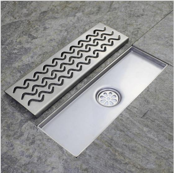 RE Bathroom 60cm Long Floor Drain Chrome Shower Decor Strainer Waste