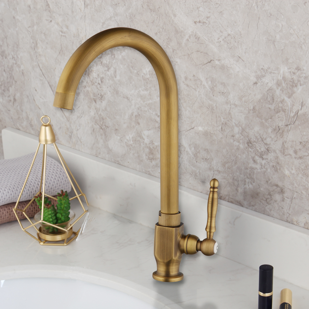 Antique Brass Kitchen Only Cold Water Sink Faucet Basin Swivel Tap Deck Mounted Ebay