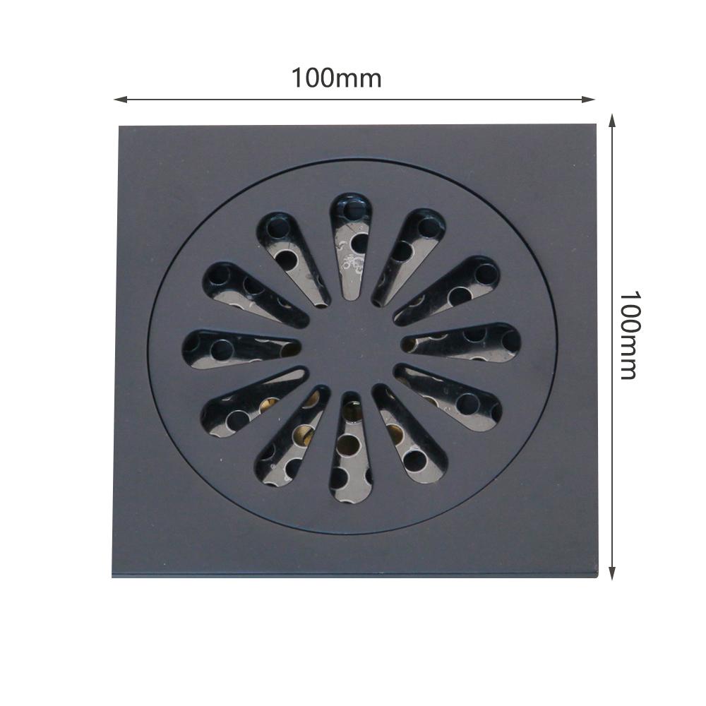 Black Oil Rubbed Bronze Carved Bathroom Square Shower Drain Floor Waste fhr048
