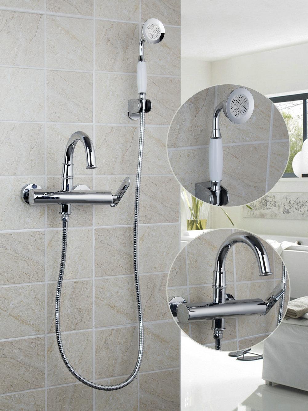Wall Mount Chrome//Gold Bathroom Tub Spout Hand Held Shower Mixer Faucet Taps Set