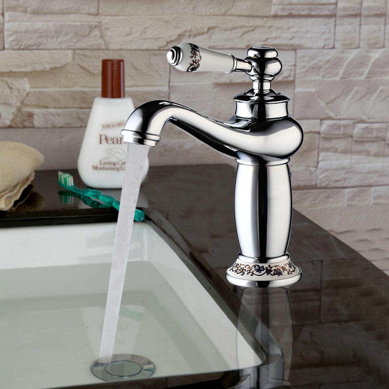 Bathroom Brass Tap Antique Brass Finish Basin Faucet Sink Single ...
