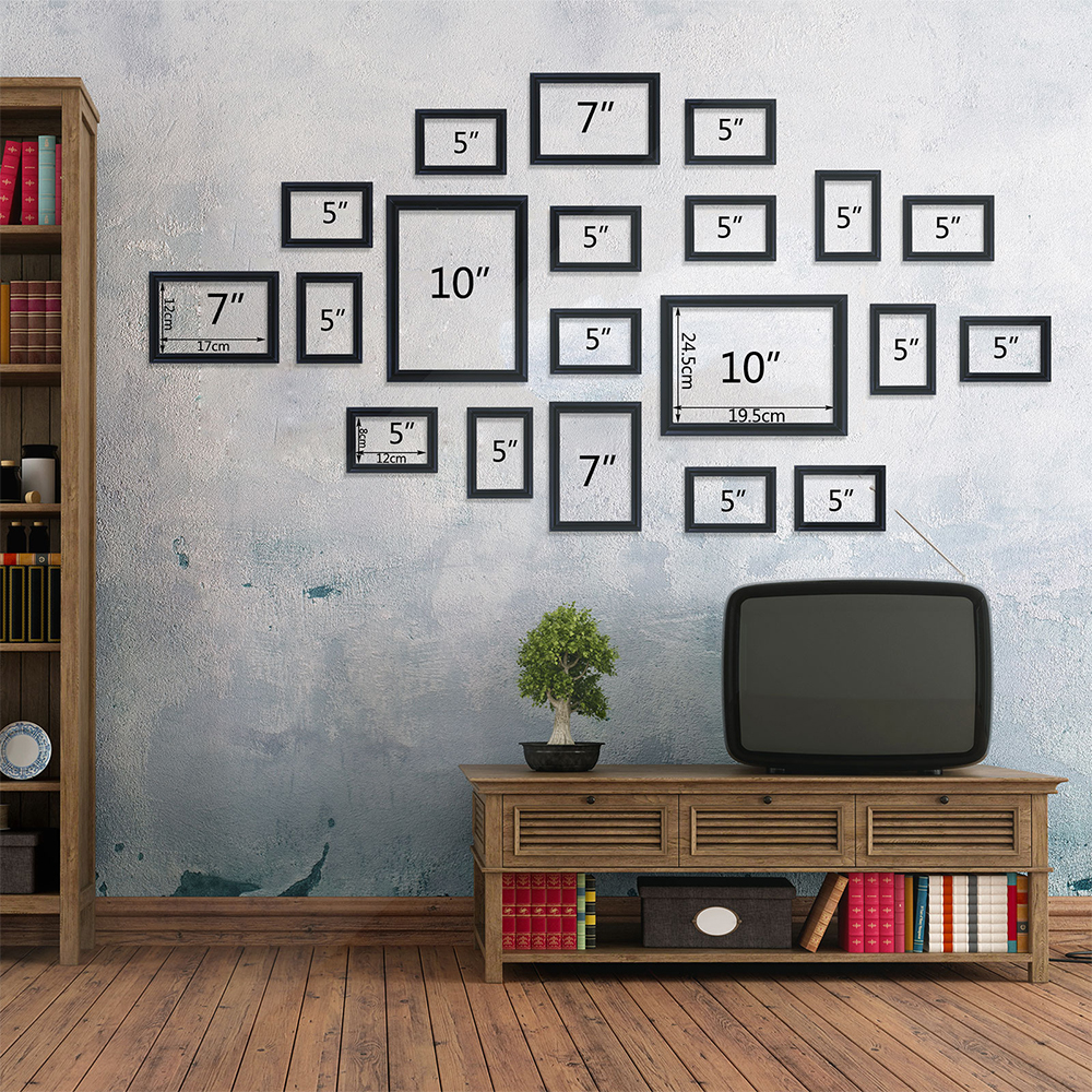 Wall Mounted 20 PCs Black Wooden Photo Home Decor Pictures Frames Collage Set