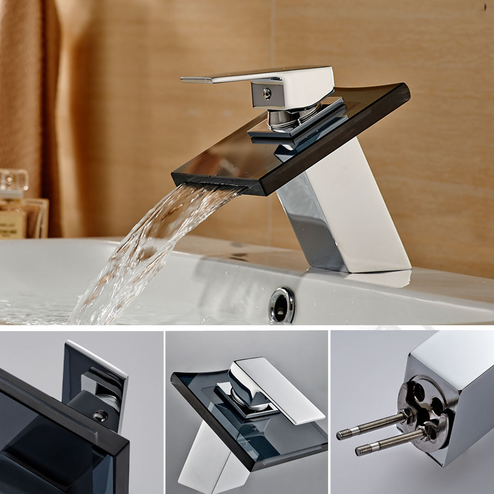 AS Chrome Brass&Black Glass Bathroom Basin Widen Outlet Mixer Taps ...