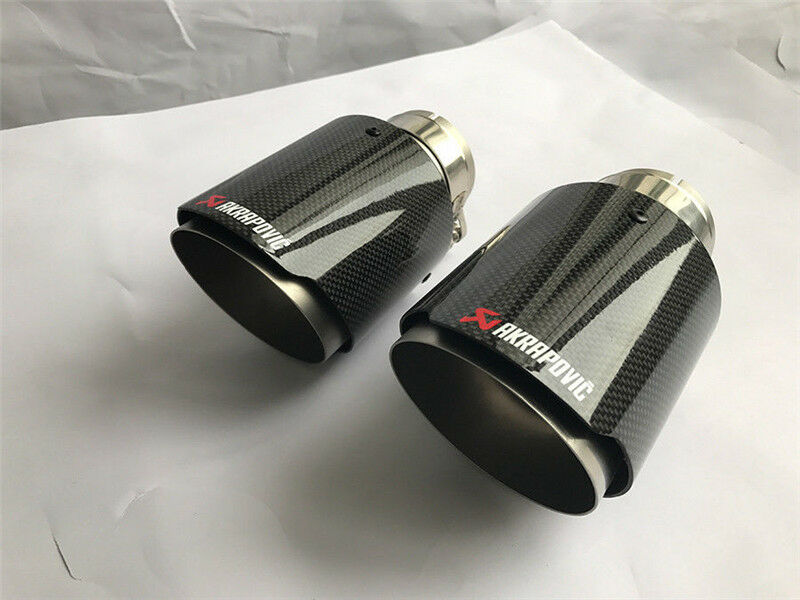 "3.5/"" 89MM Akrapovic Glossy Carbon Fiber Pipe Exhaust Tip 1 X IN 2.5/"" 63MM OUT"