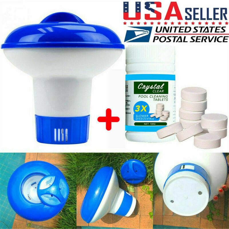 Swimming Pool Hot Tub Cleaning Tablet+Floating Chlorine Chemical Dispenser
