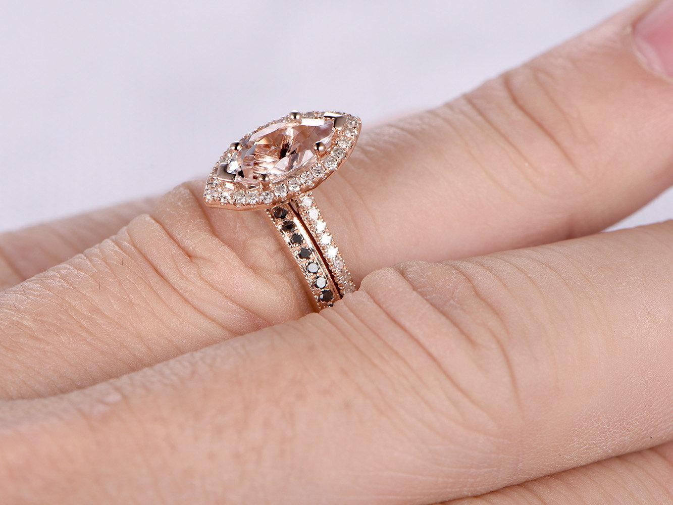 Marquise Cut 1CT Natural Morganite Black Diamond 14K Rose ...
