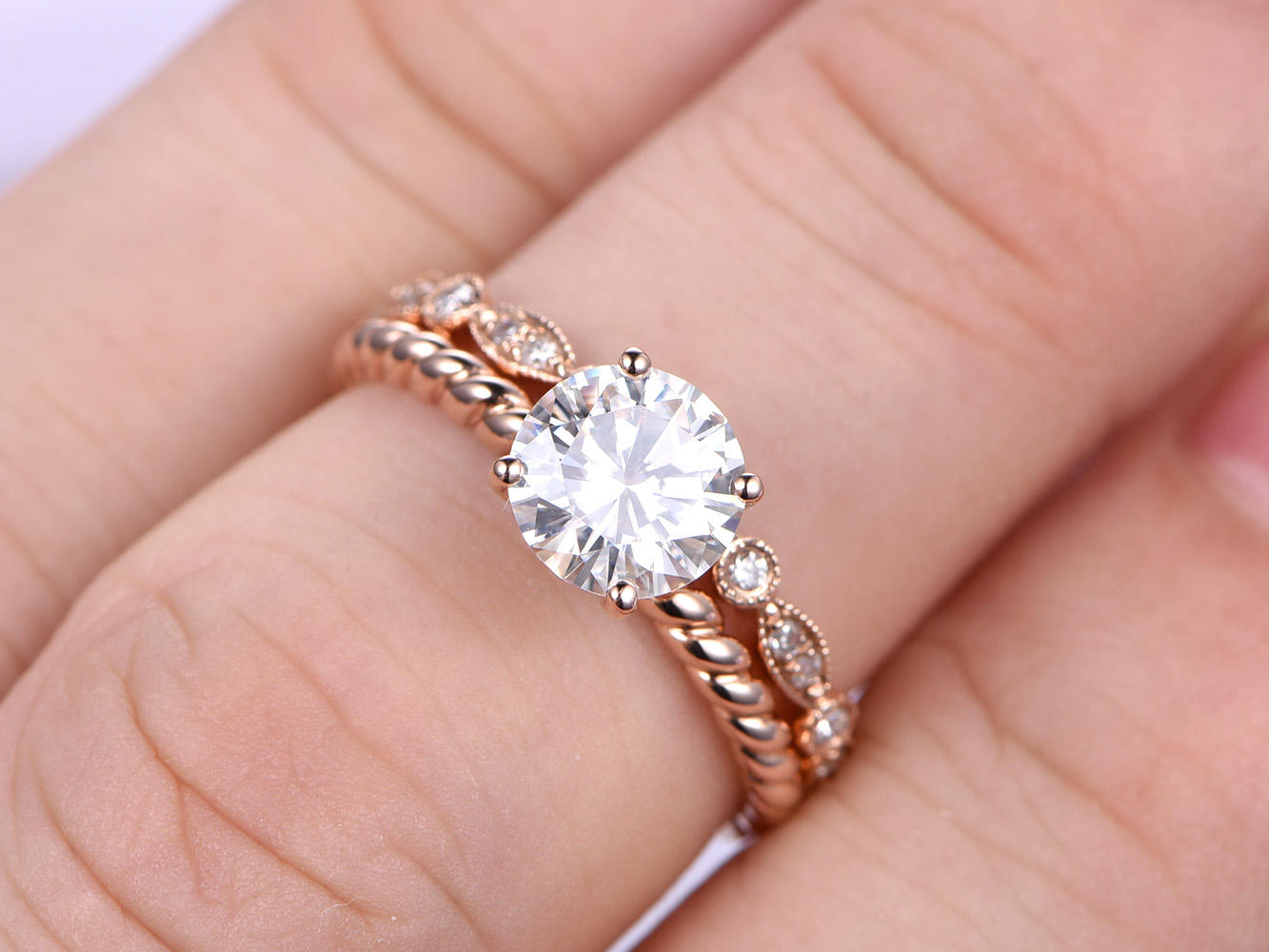 1CT Round Cut Esdomera Moissanite 14k Gold Diamond Art Deco Eternity ...