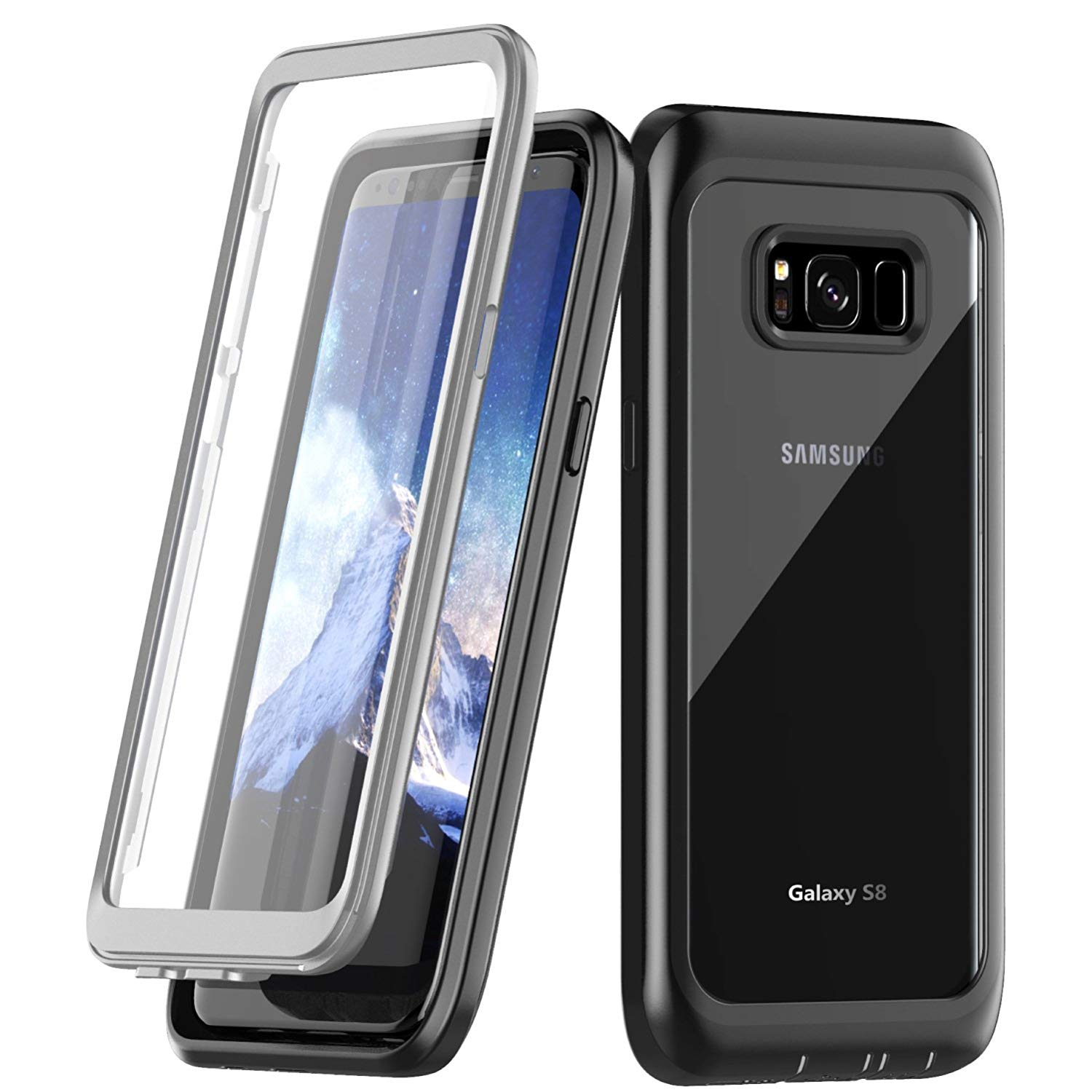 online retailer 1e465 4cbb8 Details about 360 Shockproof Case Built-in Screen Protector For Samsung  Galaxy S8