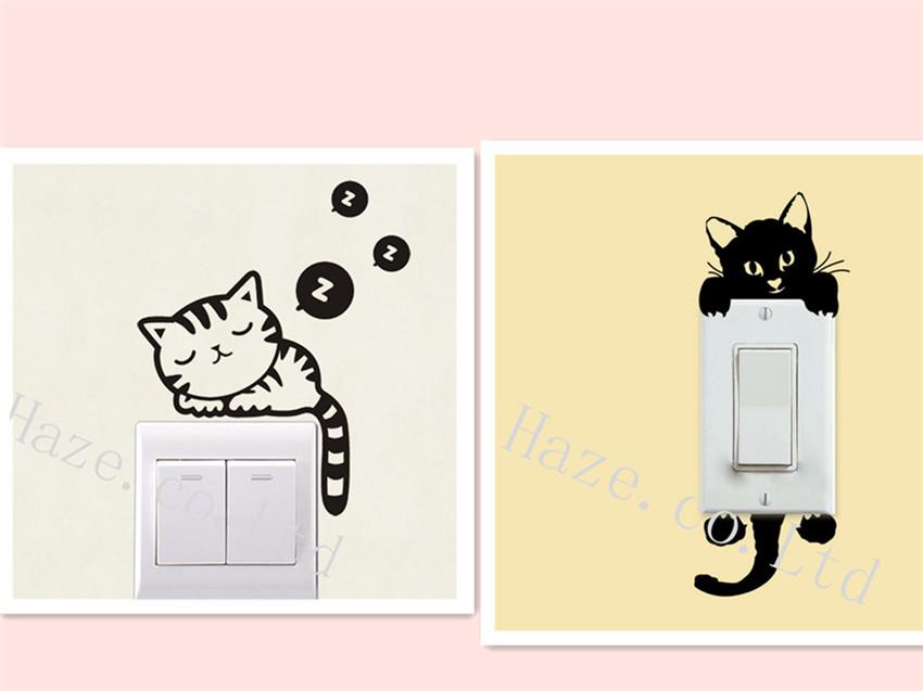 Sleeping Cat Light Switch Wall Art Vinyl Sticker Decal DIY ...