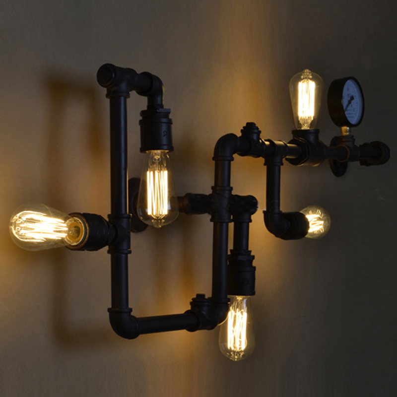 Steampunk Wall Lamp Rustic Pipe Light Vintage Sconce