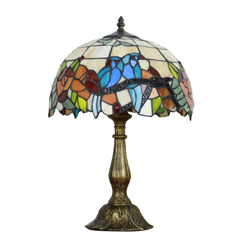 Details About Country Style Tiffany Bird Flower Pattern 12 Wide Table Lamp For Living Room