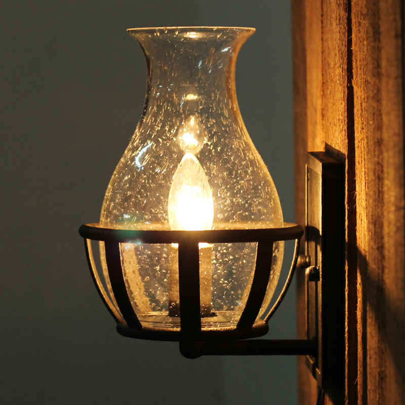 Vintage Seedy Glass Retro Candle Light Wall Sconce Lighting Fixtures ...
