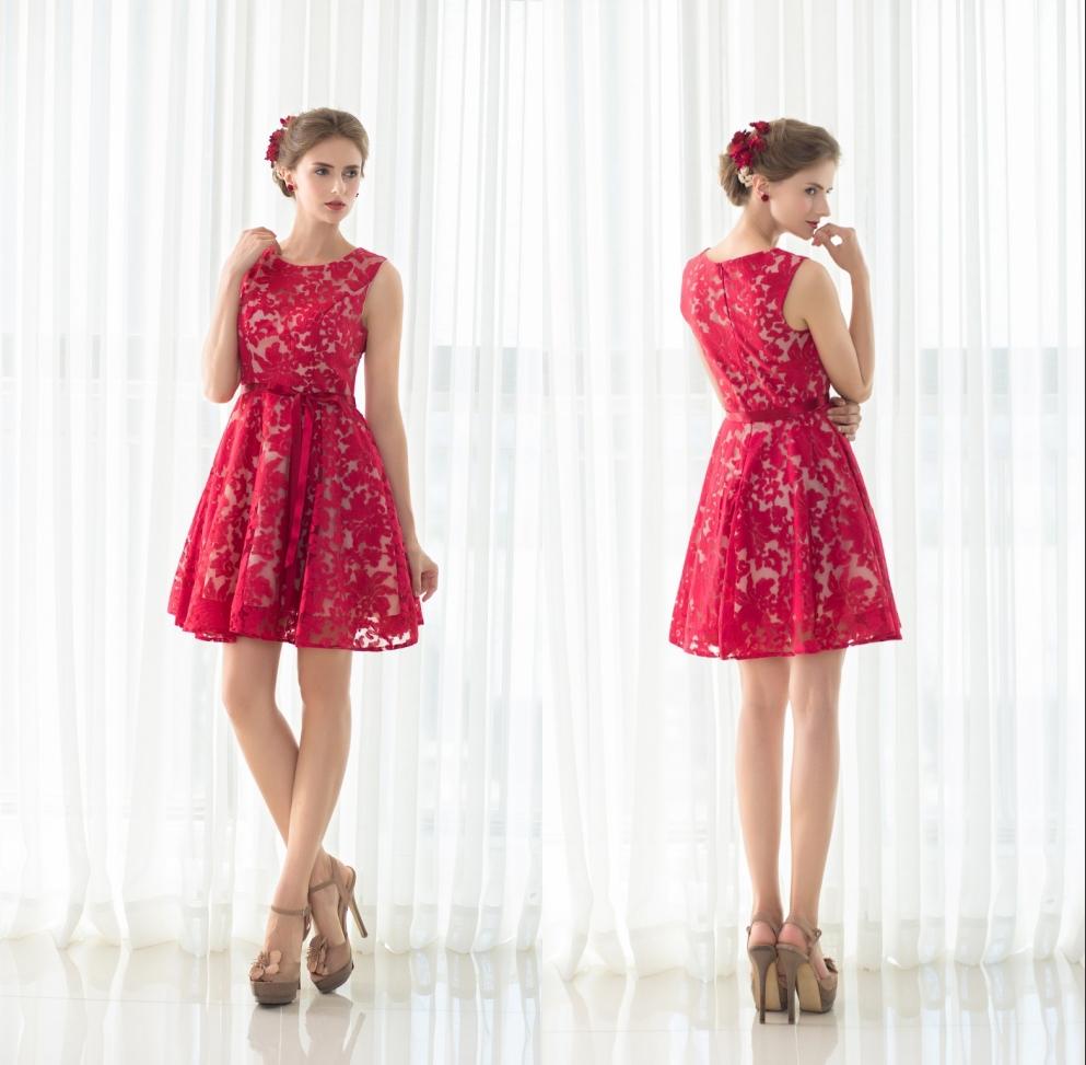 Kurz Rot /Schwarz Abendkleid Spitze Partykleid Brautjungfer Kleid ...