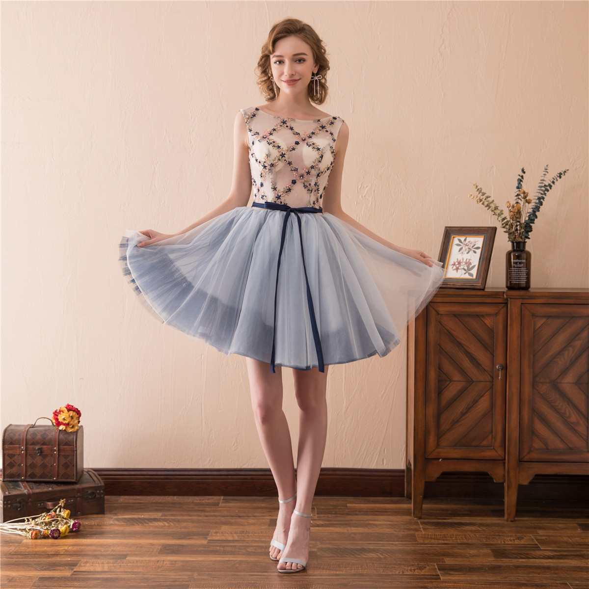2018 neu mini Abendkleid Blau Cocktailkleid Partykleid Brautjungfer ...