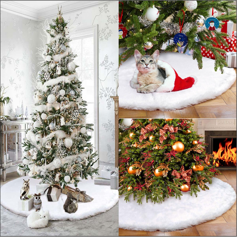78cm Long Plush Christmas Tree Skirt Base Floor Mat Cover