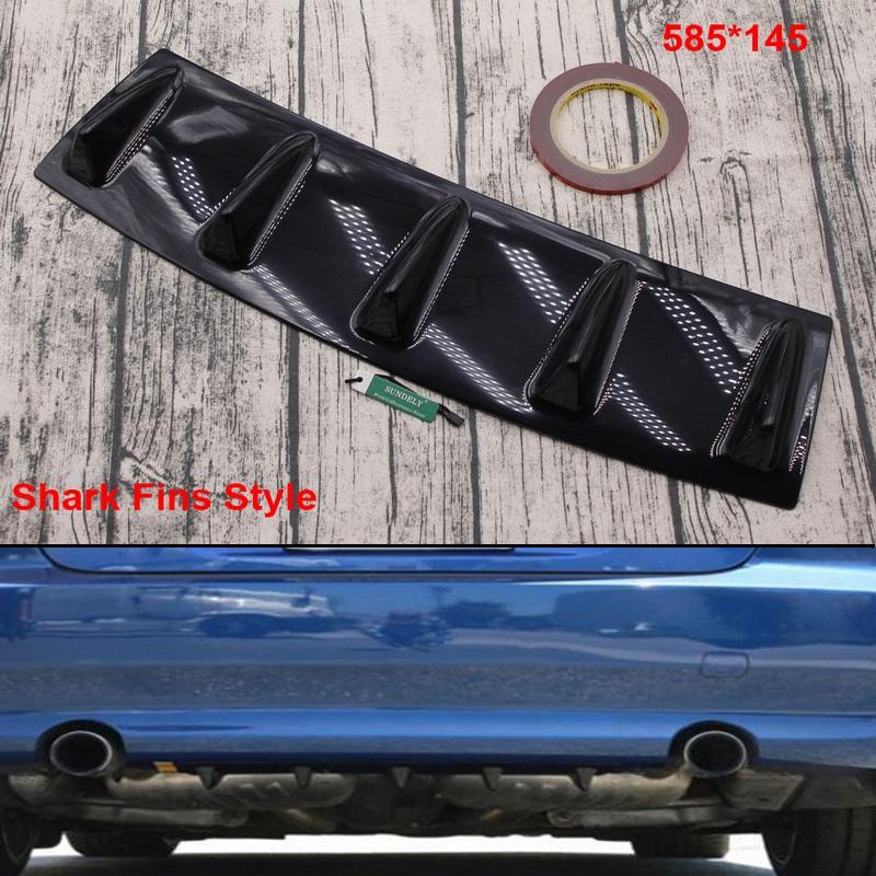585mm x145mm ABS Car Rear Bumper Lip Diffuser Shark Fin Style Curved Addon
