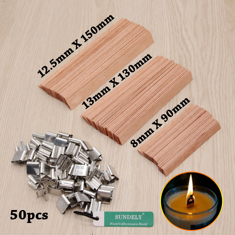 50PCS Wooden Candles Core Wick With Iron Stands Making Supplies UK