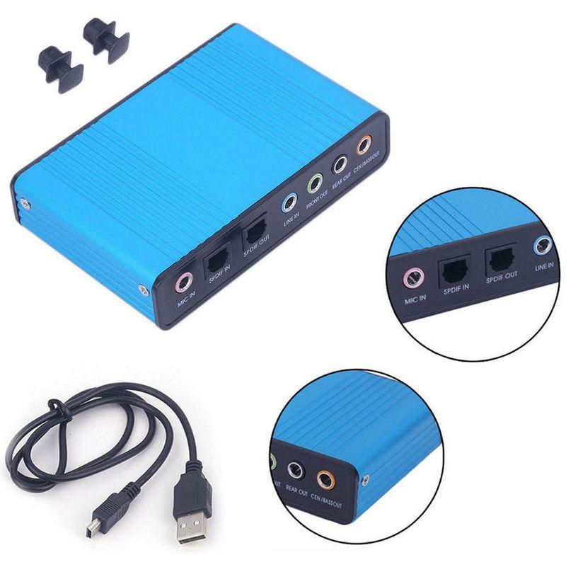 USB 5.1 Channel External Optical Audio Fiber Sound Card S//PDIF for Laptop PC