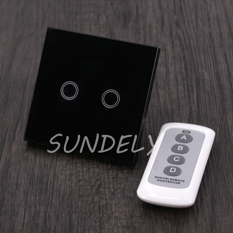 White Crystal Glass Panel Smart Touch Wall Light Switch Remote 1 Gang 1 Way