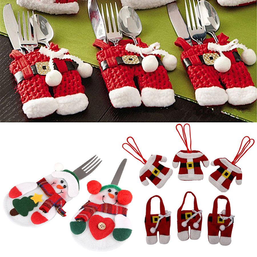 4stk Tischdeko Geschirr·Weihnachten Weihnacht Xmas Dekor Besteck Tasche Halter