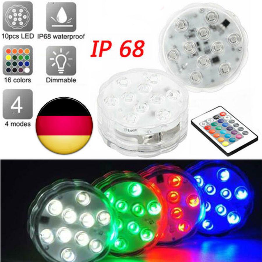 Fernbedienung RGB LED Unterwasser Brunnen Teich Aquarium Aquarium Lichter Lampen