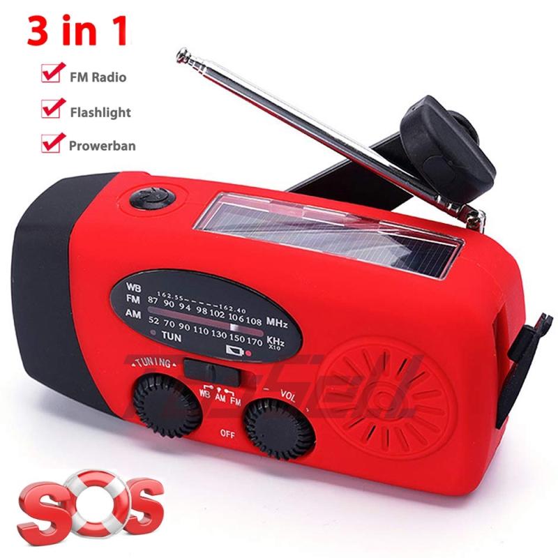 Solar Hand Crank Dynamo AM//FM//WB Weather Radio 3 LED Flashlight Survival Charger